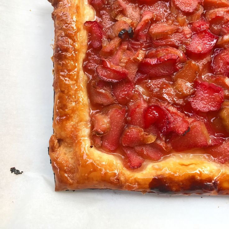 Julia O'Malley's rhubarb tart (need puff pastry and OJ in addition to rhubarb)