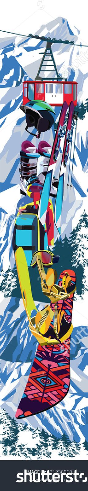 Skis, snowboard, lift, glasses, backpack, boots, helmet and jacket against the background of mountains and coniferous trees. Design for a ski resort