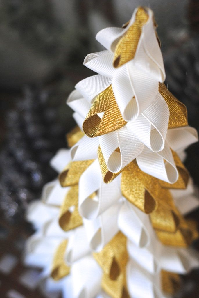 Easy ribbon tree using a cardboard cone and some ribbon.