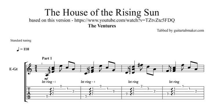 The Ventures - House of the Rising Sun TAB - instrumental guitar TAB