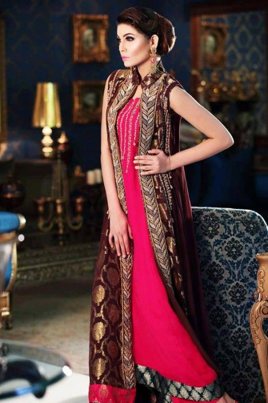 Bridal and Party Jucy Colors Dresses 2013 by Jawwad Ghayas  Love this long coat style