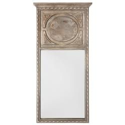 Suzette French Country Rustic Vintage Grey with Brown Mirror