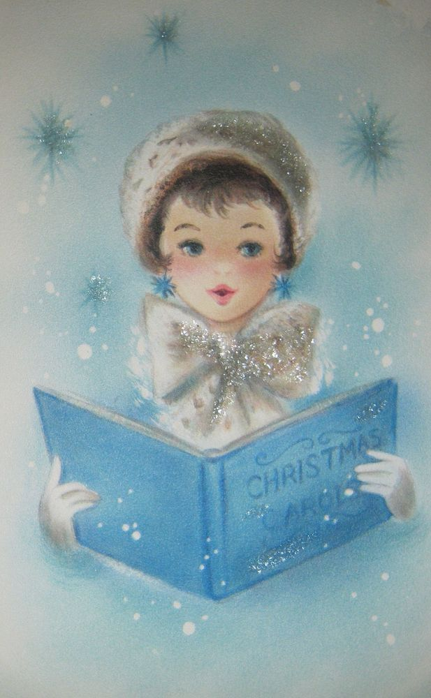 Vintage Christmas Card Glitter Girl Caroling Hat Bow Snow Blue Hallmark Greeting