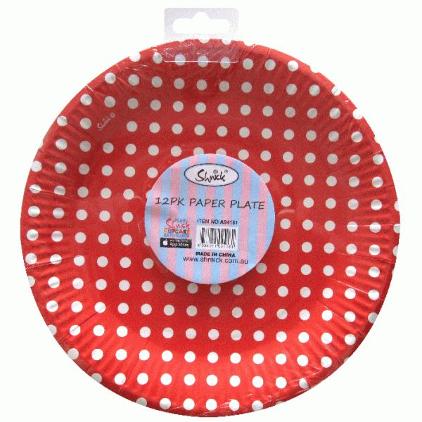 RED DOTS Smick Plates 23cm 12 pack for $6.90