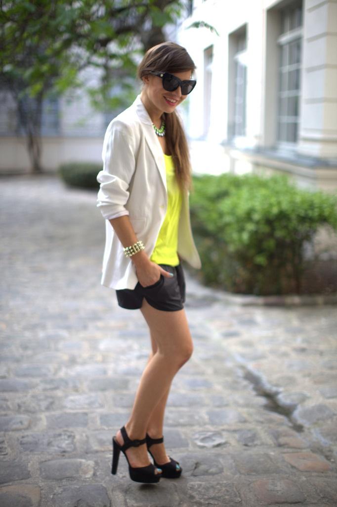 Neon and white blazerWhite Blazers, Neon, Dresses, Shorts Blazers, Blazers Heels