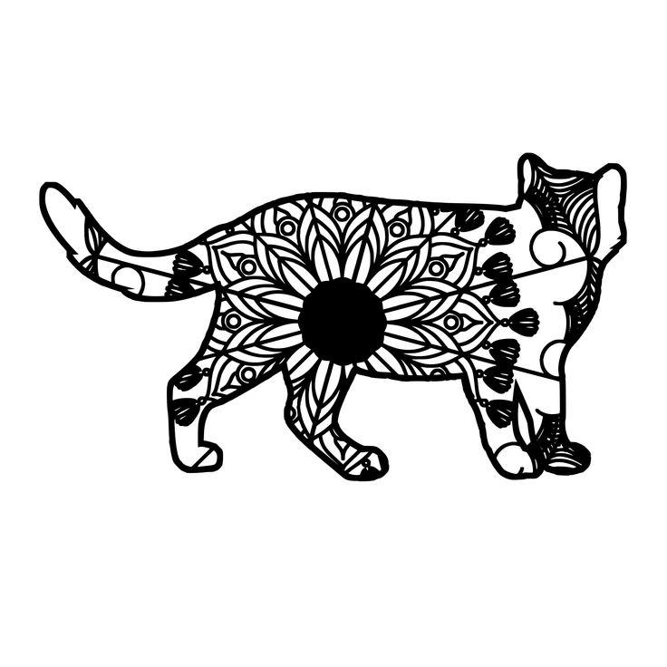 Cat Mandala Animal Svg T-Shirt Designs | Cat mandala ...