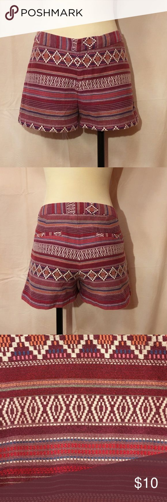 Merona Tribal Shorts Marona Tribal Shorts: Size 8. Perfect for Summer, or transition into Fall by pairing with tights, boots and a cute sweater! Good condition. Barely worn. Message me if you have any questions! :) Merona Shorts