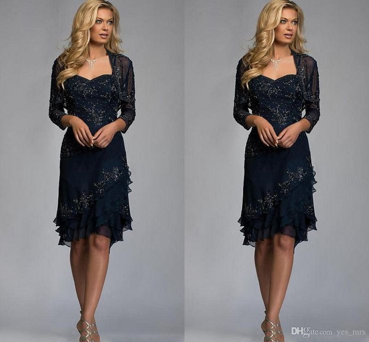 2016 Mother of the Bride Dresses Sweetheart Lace Appliques Beaded Chiffon Navy Blue Knee Length Plus Size Wedding Guest Dress With Jacket Online with $119.6/Piece on Yes_mrs's Store | DHgate.com
