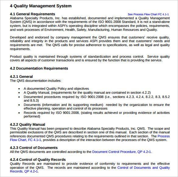 Quality Manual Templates 10 Free Word Excel Pdf Manual
