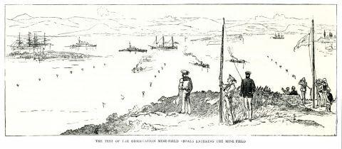 Βρετανικά πλοία ελέγχουν την ορθή τοποθέτηση ναρκών θαλάσσης στην Κρήτη κατά την Κρητική επανάσταση του 1889.