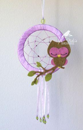 Dreamcatcher hibou violet ou bleu décor de par NikisBirdhouse