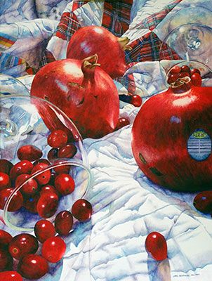 Chris Krupinski - Pomegranates and Cranberries.  Watercolor