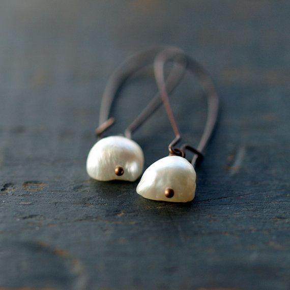 Demeter Pearl Earrings Natural Freshwater Pearl Copper Dangle Jewelry on Etsy, $17.00