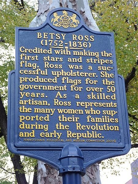 "The ""Pennsylvania Historical Society"" honored 'Betsy Ross' (1752-1836) for her 50 years of service to the government, by producing the first Stars and stripes flags."