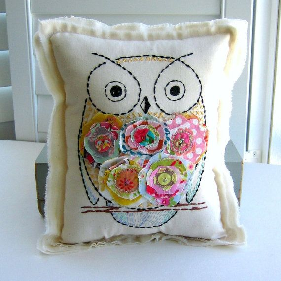 hand sewn fabric scrap flower owl pillow by tracyBdesigns on Etsy