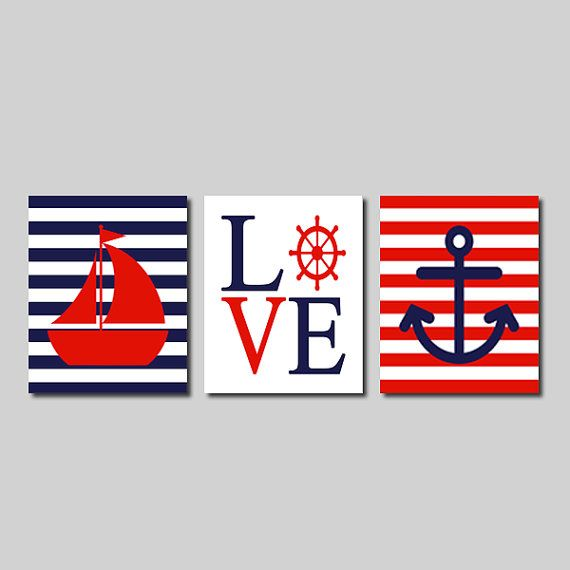 Nautical Wall Art Sailboat Love Captains Wheel Anchor Navy Red Set of 3 Prints Modern Boy Nursery Kids Bathroom Bedroom Decor Picture