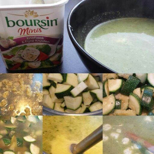 Courgette soep met boursin mini's