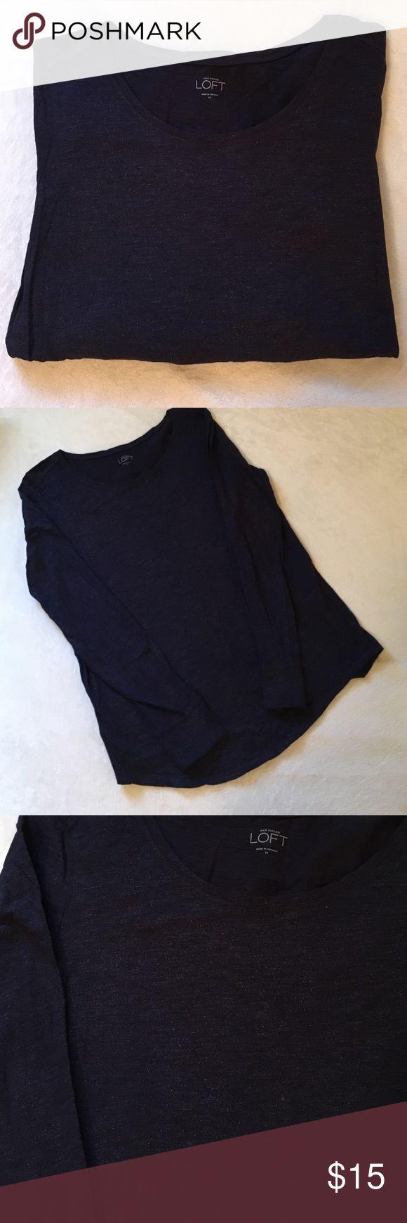 LOFT Metallic Shimmer Top Navy long sleeve top with metallic shimmer throughout. NWOT LOFT Tops Tees - Long Sleeve