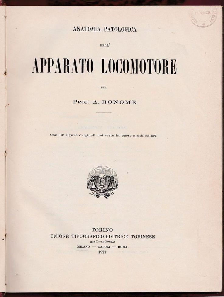 A. Bonome ANATOMIA PATOLOGICA DELL'APPARATO LOCOMOTORE UTET 1921-L5382