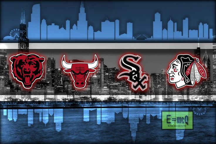 Chicago Sports Teams Poster, Chicago Cubs Chicago Bulls Chicago Blackhawks Chicago White Sox, Chicago Bears