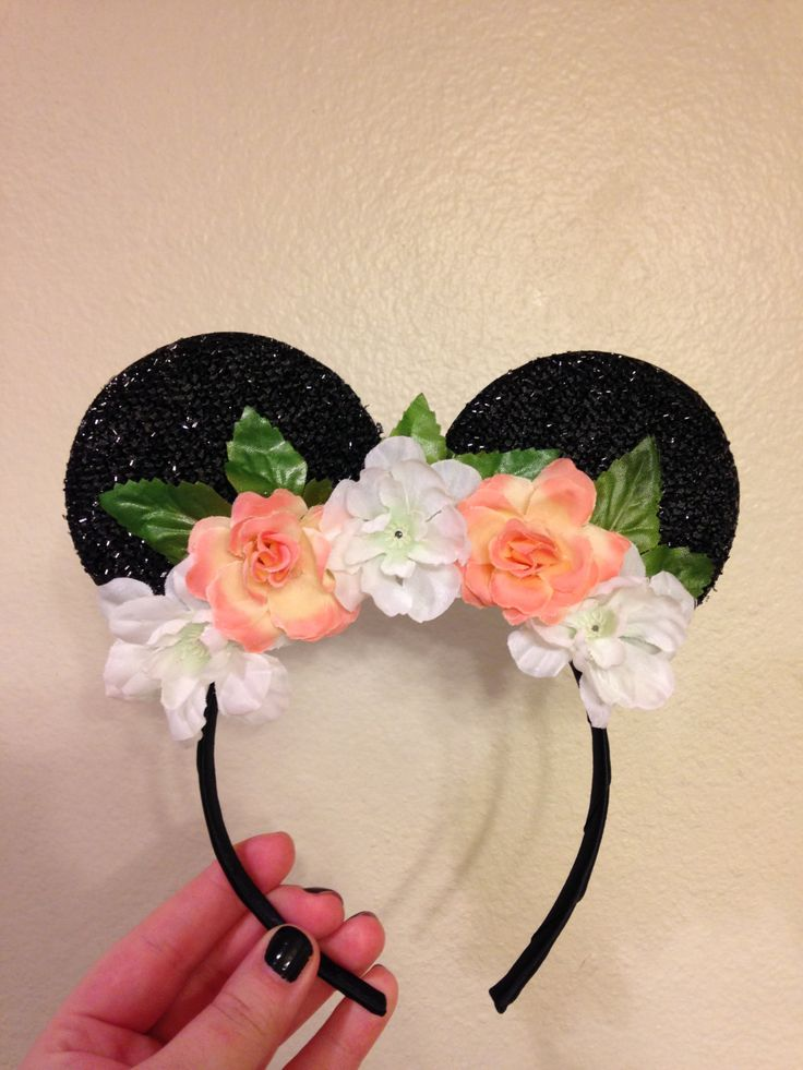 minnie mouse ears with white and peach flower crown