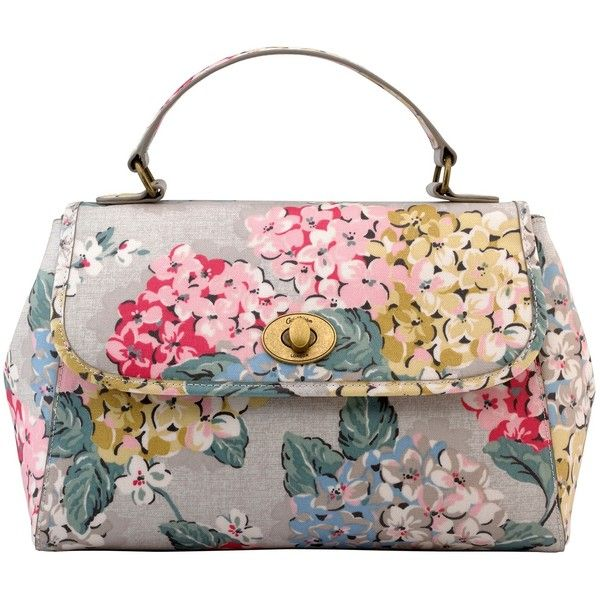 Cath Kidston Turnlock Hydrangea Handbag, Oat (€78) ❤ liked on Polyvore featuring bags, handbags, top handle purse, floral tote bag, tote hand bags, tote purse and floral print handbags