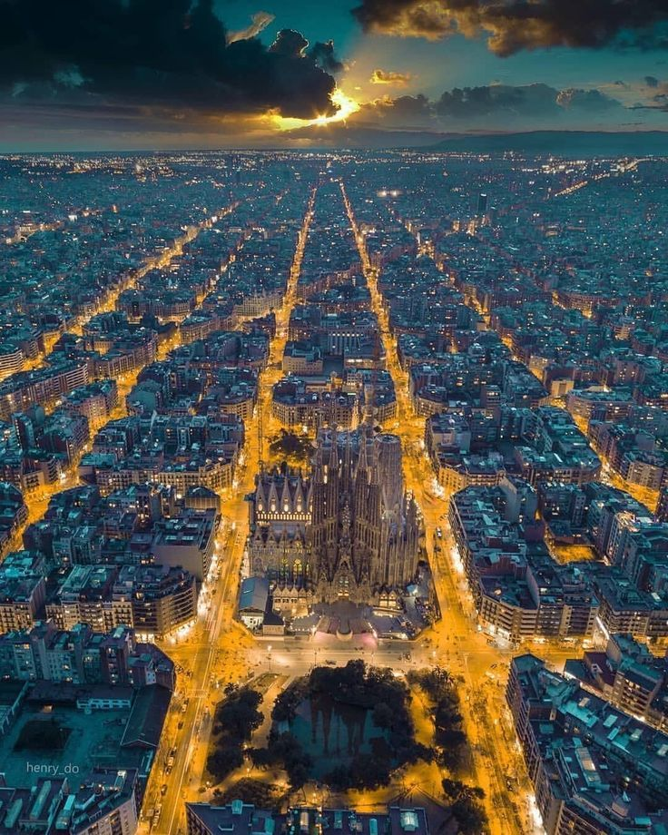 Birds Eye View Barcelona: Aerial View Of Barcelona At Sunset. La Sagrada Familia Can