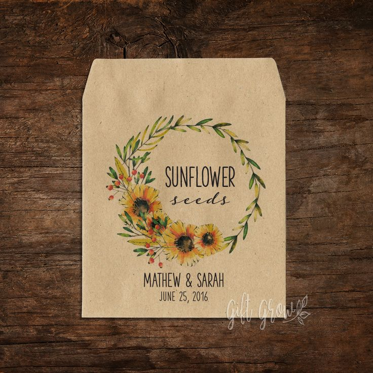 Sunflower Floral Wreath Wedding Seed Packets