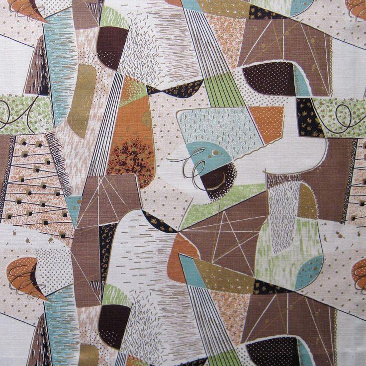 barkcloth | Vintage Barkcloth Fabric 50s Atomic Eames by NiceworkByTheYard