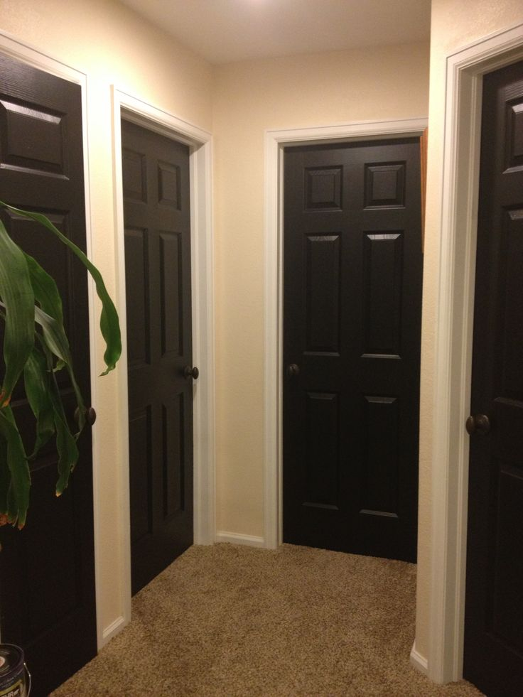 Hallway black doors home pinterest black door for Black interior paint
