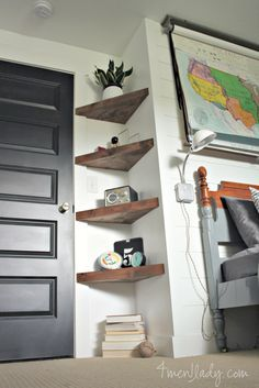 Boy's bedroom ideas, Before and After, Plank Wall, Floating Shelves, DIY, Bedroom, Reveal *Perfect idea for kiddles room!*
