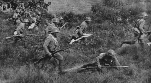 Japanese naval troops initiating a Banzai charge against Chinese troops in the battle of Wuhan (1938).