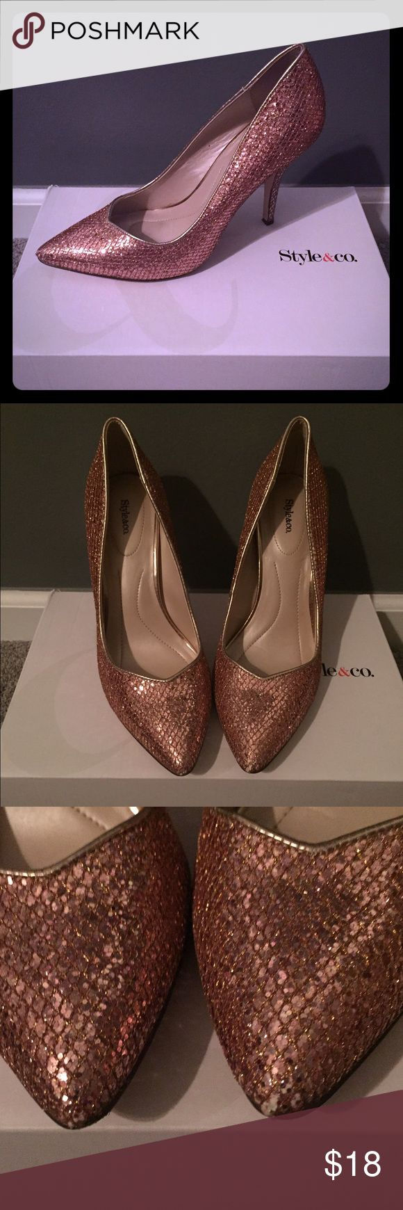 Rise Gold Pumps These pumps have been worn one time to a wedding. They are in great condition with a little scuff on the tip of the toe (see pic 3) Style & Co Shoes Heels