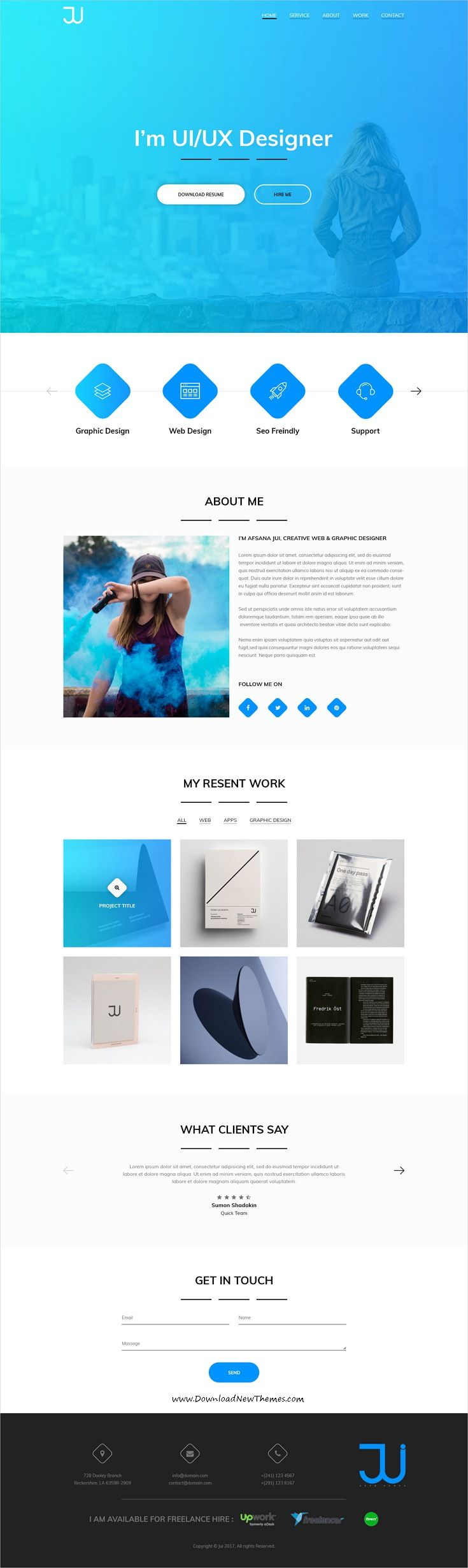 Jui is clean and modern design PSD template for #freelancer creative onepage #resume and #portfolio showcase website to live preview & download click on Visit