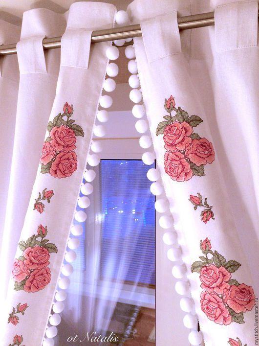 Текстиль, ковры ручной работы. Ярмарка Мастеров - ручная работа. Купить Льняные шторы с вышивкой