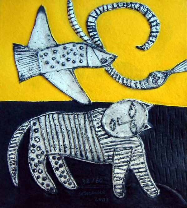 Guillaume CORNEILLE : Original water-etching : The Cat, the Fish and the Snake
