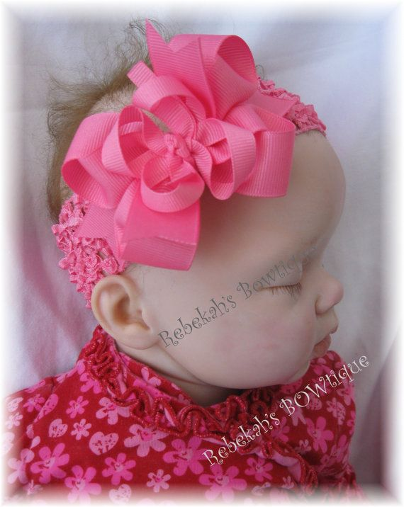Hot Pink Infant Hair Bow Headband Toddler by RebekahsBowtique
