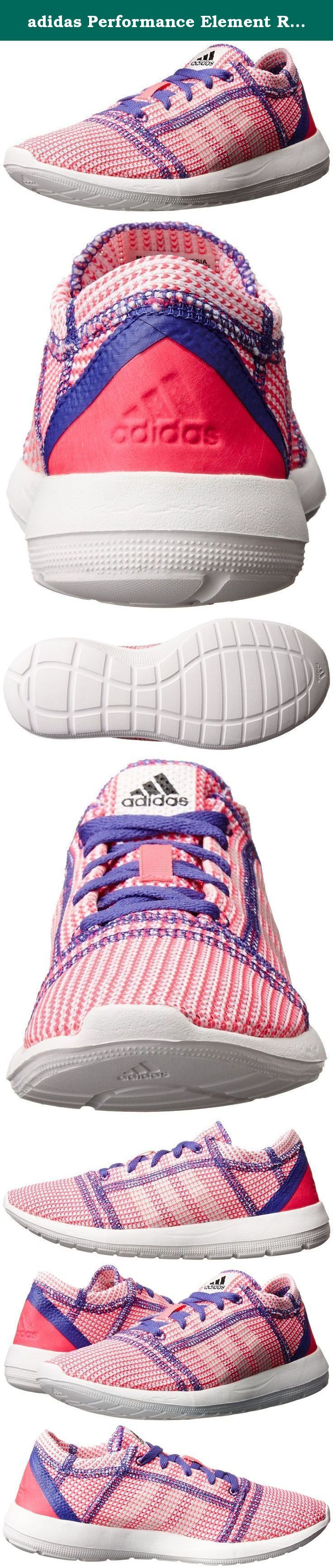 adidas Performance Element Refine Tricot J Running Shoe (Big Kid),Solar Pink/Running White/Power Purple F14,6 M US Big Kid. Sustainably made lightweight runner with integrated sockliner and full length Ethylene vinyl acetate midsole outsole. Tricot mesh for lightweight breathability. Compression Molded one piece ethylene vinyl acetate midsole outsole for lightweight barefoot feel. Non-marking outsole with outstanding traction both indoor and outdoor.