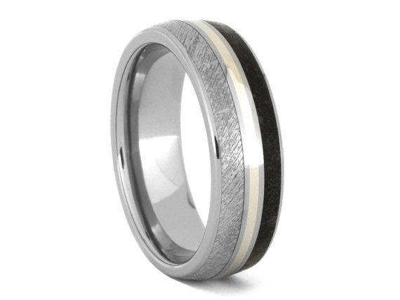 Elegant Personalized Dinosaur Bone Wedding Band Meteorite Ring With