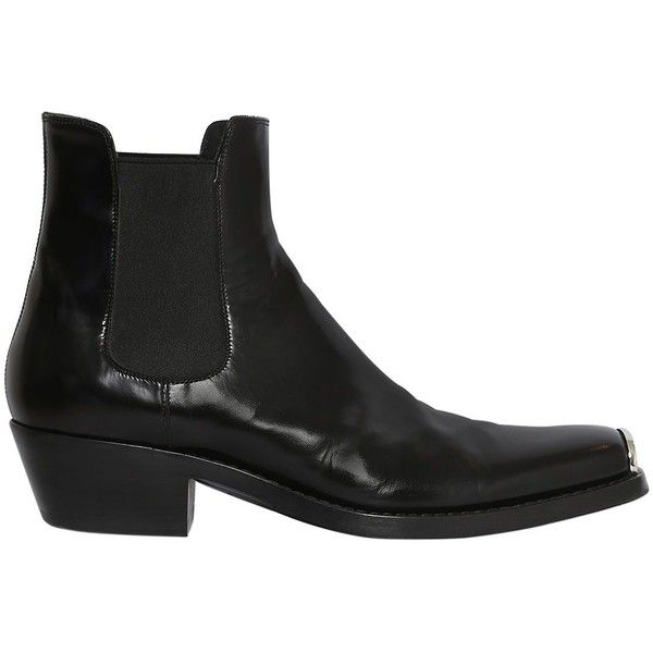 Calvin Klein 205 W39 Nyc Men Metal Toe Leather Chelsea Boots (€1.220) ❤ liked on Polyvore featuring men's fashion, men's shoes, men's boots, mens leather sole boots, mens leather shoes, mens leather boots, mens shoes and mens chelsea boots