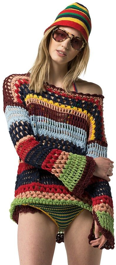 Hilfiger Collection Stripe Crochet Sweater