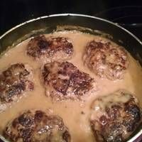 Smothered cream of mushroom Hamburger steak