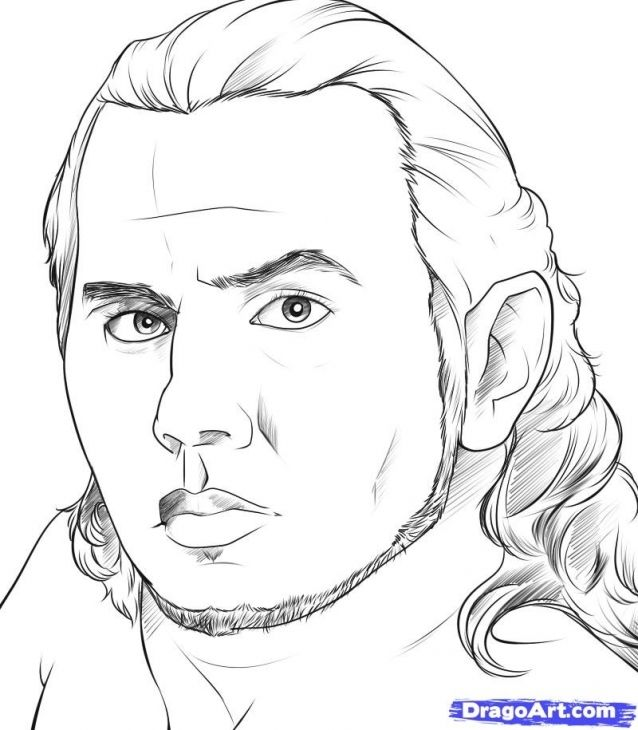 Realistic Jeff Hardy Sketch Printable