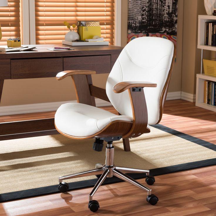 baxton studio rathburn walnut modern office chair by baxton studio