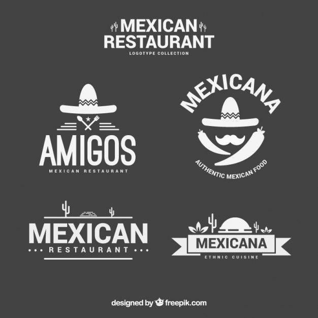 modelos elegantes logotipo mexicano restaurante Vetor grátis