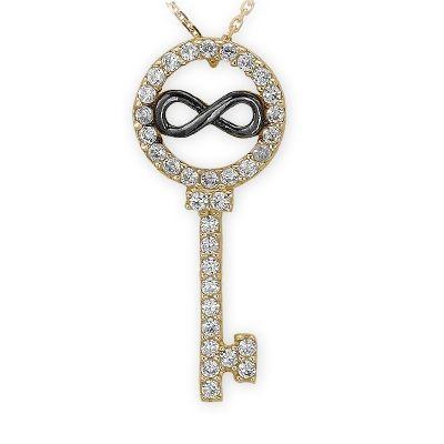 sonsuzluk altın anahtar kolye,  Kalbimin anahtarı sonsuza kadar senin...