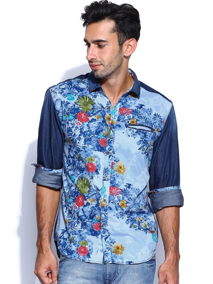Denim & Floral print - Summer shirt