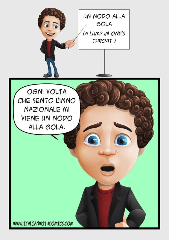 """Idiom of the day:""""Un nodo alla gola""""."""