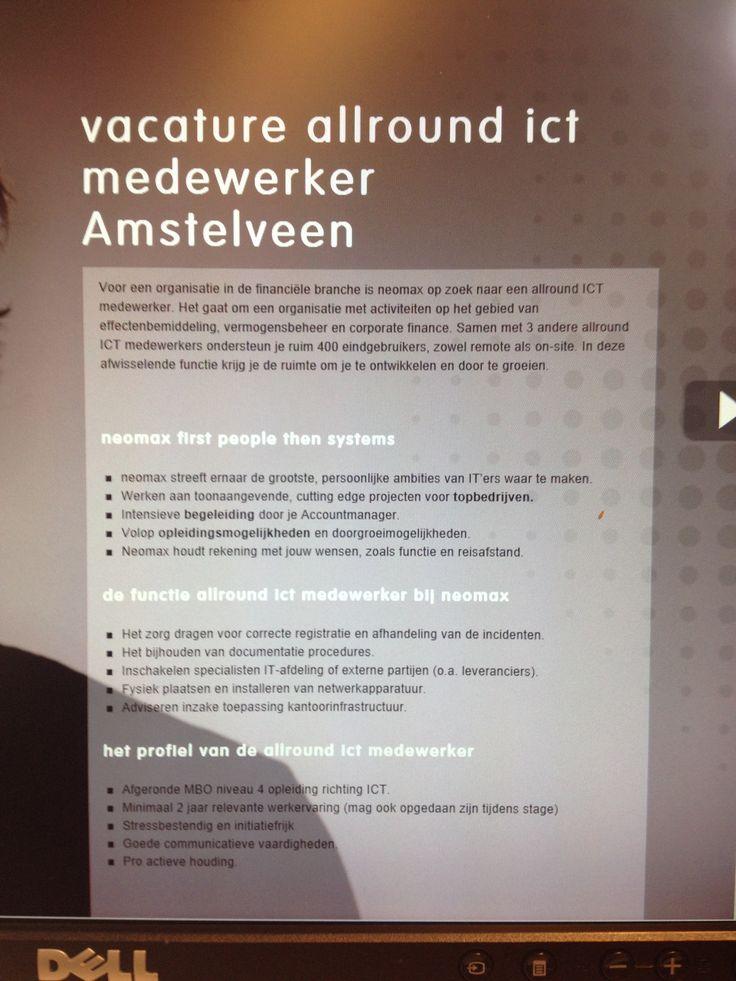 Voor een klant in Amstelveen zijn we op zoek naar een Allround ICT medewerker. Werken en leren is voor jou belangrijk. http://ow.ly/i/3evpb  Maak je volgende stap in je carrière en ga direct naar; http://neomax.nl/vacature/vacature-allround-ict-medewerker-amstelveen/ Onze recruiters nemen direct contact met je op.