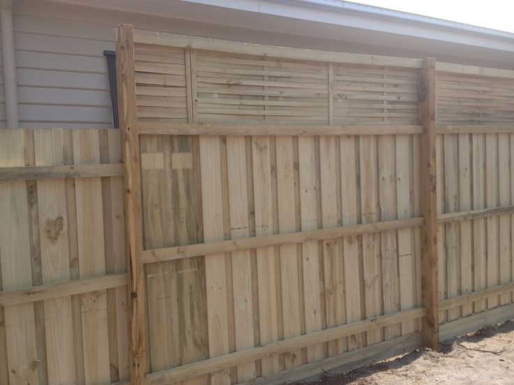 Paling fence with posts and rails and lattice. Rear view